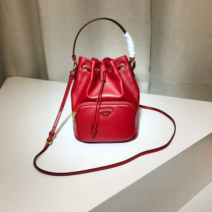 2019 Prada Leather Bucket Bag in Red
