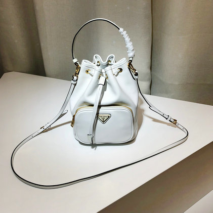 2019 Prada Leather Bucket Bag in White