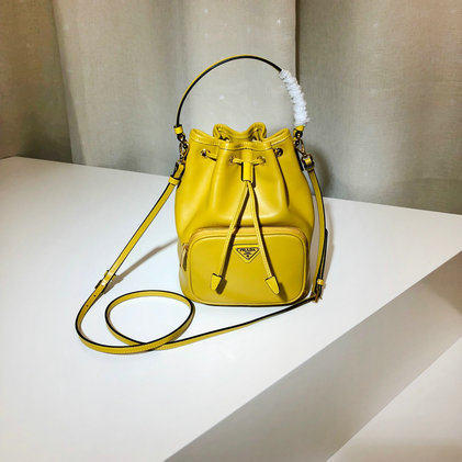 2019 Prada Leather Bucket Bag in Sunny Yellow