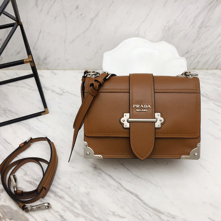 2019 Prada Cahier Shoulder Bag in Brown Calfskin Leather