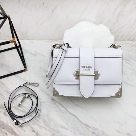 2019 Prada Cahier Shoulder Bag in White Calfskin Leather