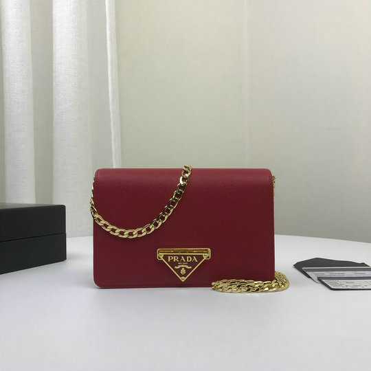 2019 Prada Lux Saffiano Leather Crossbody Wallet in Red