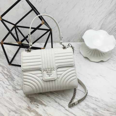 2019 Prada Diagramme Top Handle Bag in White Leather