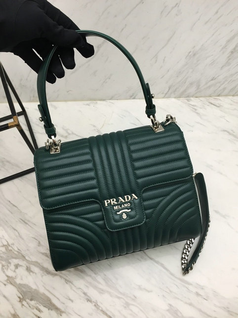 2019 Prada Diagramme Top Handle Bag in Green Leather