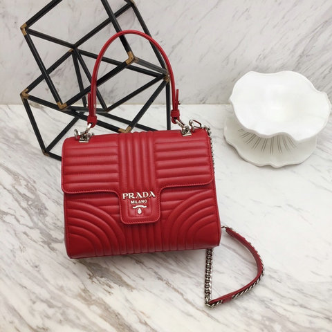 2019 Prada Diagramme Top Handle Bag in Red Leather