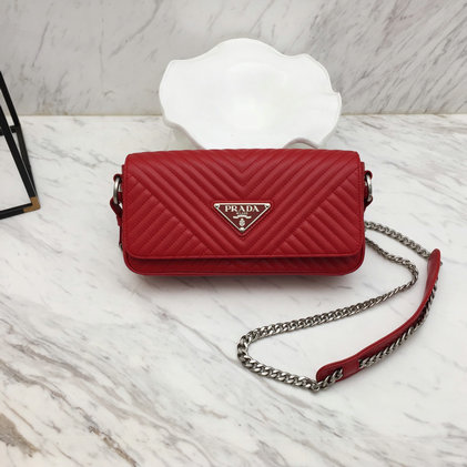 2019 Prada Diagramme Shoulder Bag in Red Calf Leather