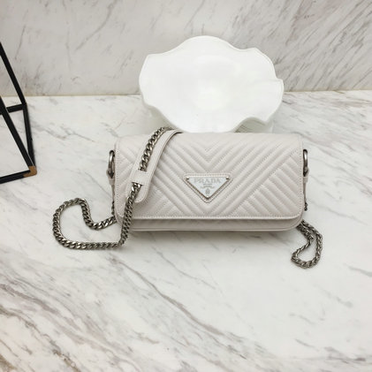 2019 Prada Diagramme Shoulder Bag in White Calf Leather
