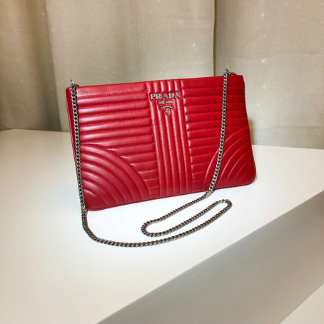 2019 Prada Diagramme Leather Clutch in Red