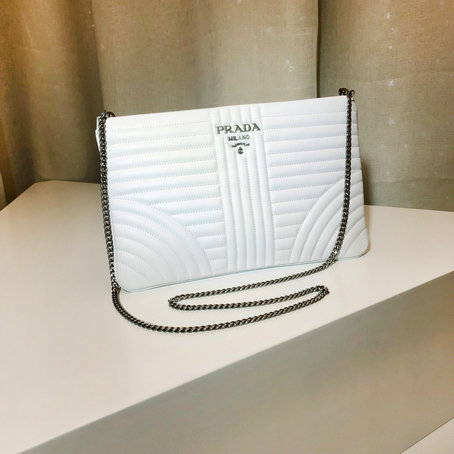 2019 Prada Diagramme Leather Clutch in White