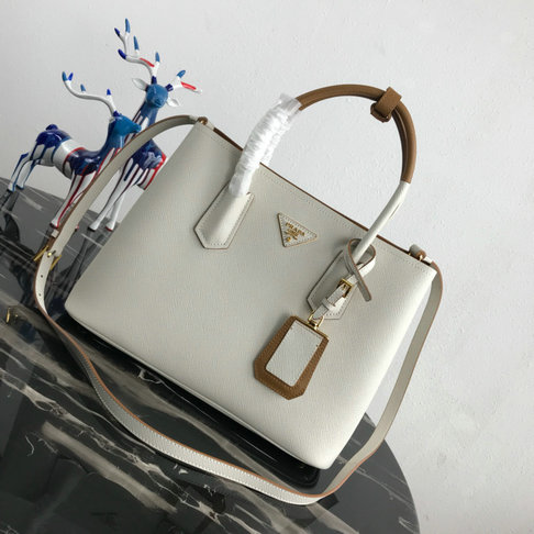2019 Prada Double Medium Bag with two-tone handles