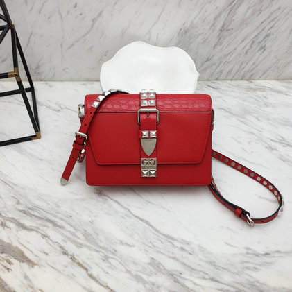 2019 Prada Elektra Bag in red calf and crocodile leather