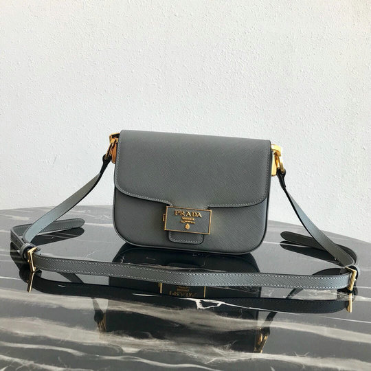 2019 Prada Emblème Saffiano Leather Bag in Grey