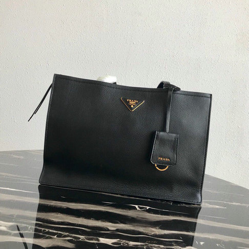 2019 Prada Etiquette Tote Bag in Black Leather