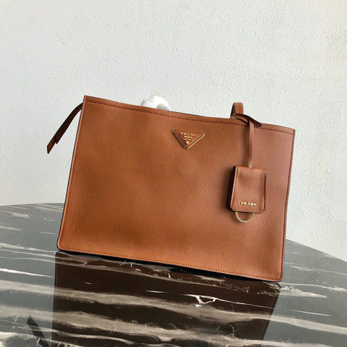2019 Prada Etiquette Tote Bag in Brown Leather