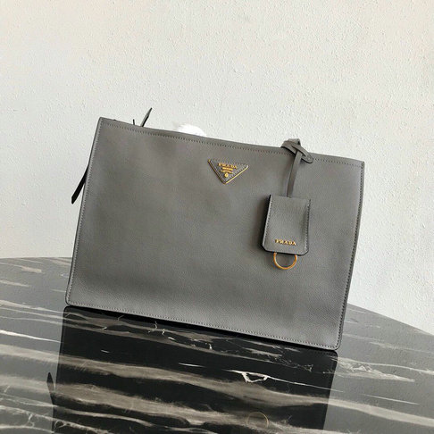 2019 Prada Etiquette Tote Bag in Grey Leather