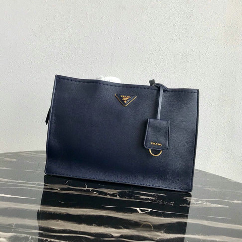 2019 Prada Etiquette Tote Bag in Dark Blue Calf Leather