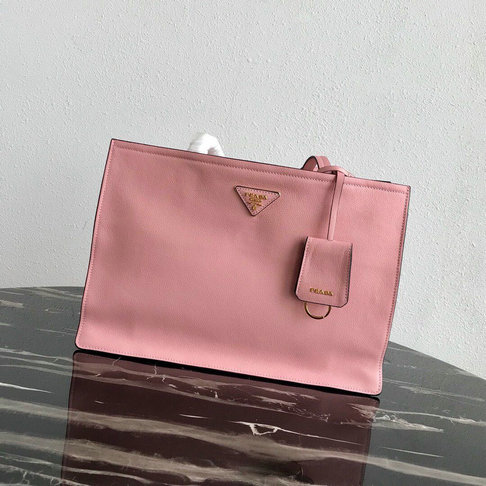 2019 Prada Etiquette Tote Bag in Pink Calf Leather