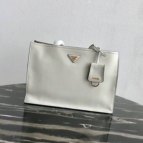 2019 Prada Etiquette Tote Bag in White Calf Leather