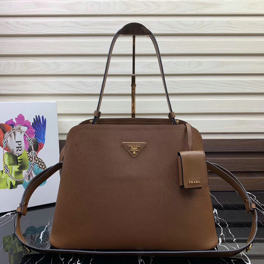 2019 Prada Matinée Handbag in Brown Saffiano Leather