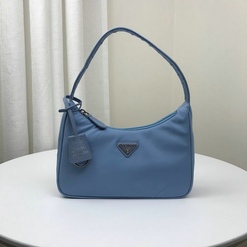 2019 Prada Mini Nylon Hobo Bag with saffiano leather details