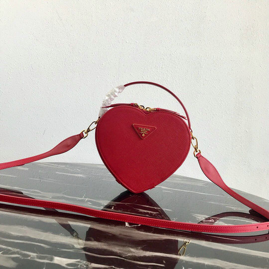 2019 Prada Heart Odette Bag in red saffiano leather