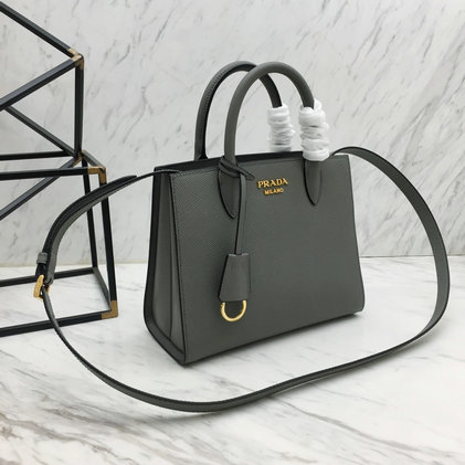 2019 Prada Saffiano Leather Mini Handbag in Grey