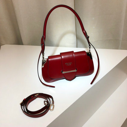 2019 Prada Sidonie Shoulder Bag in Dark Red Leather