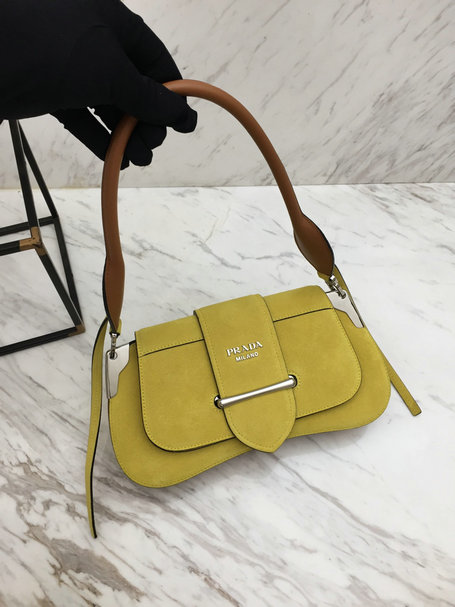 2019 Prada Sidonie Suede Bag in Yellow