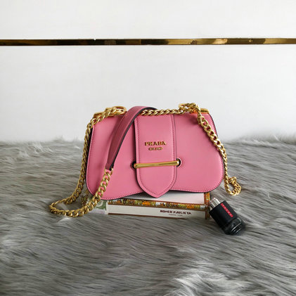 2019 Prada Sidonie Leather Shoulder Bag in Pink