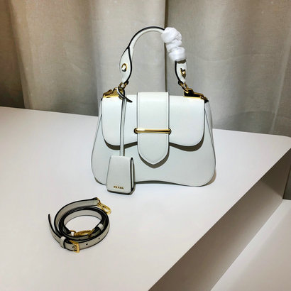 2019 Prada Sidonie Medium Saffiano Bag in White