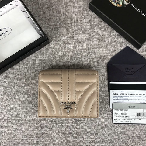 2019 Prada Small Leather Wallet in Cameo quilted leather
