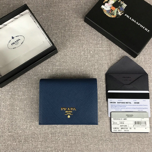 2019 Prada Small Saffiano Leather Wallet in blue