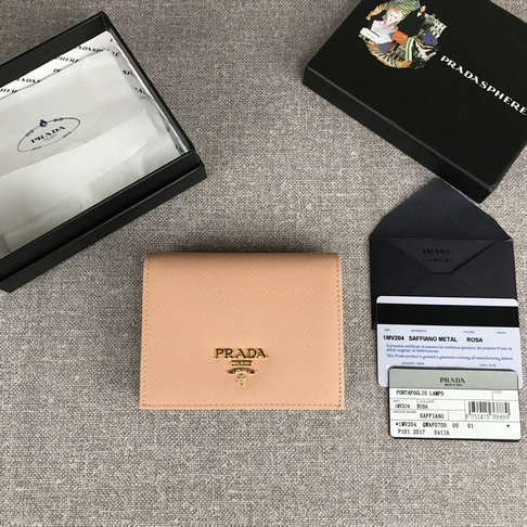 2019 Prada Small Saffiano Leather Wallet in cameo
