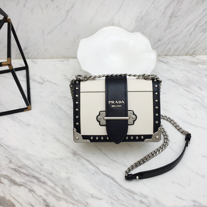 2019 Prada Cahier Studded Bag in White/Black Leather
