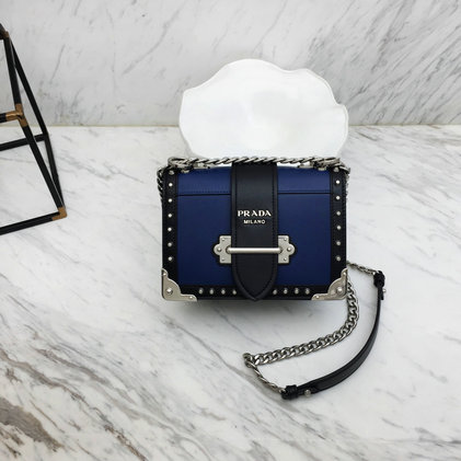 2019 Prada Cahier Studded Bag in Blue/Black Leather