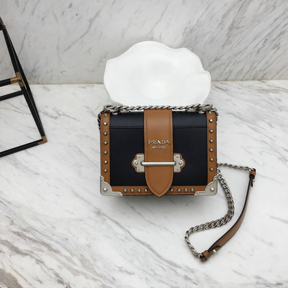 2019 Prada Cahier Studded Bag in Cognac/Black Leather