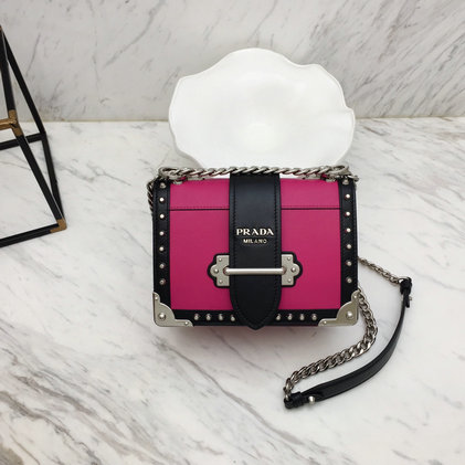 2019 Prada Cahier Studded Bag in Fuchsia/Black Leather