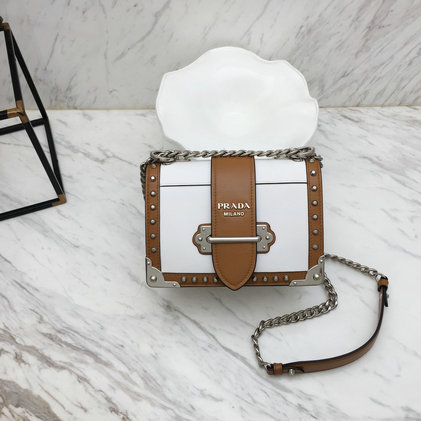2019 Prada Cahier Studded Bag in White/Cognac Leather