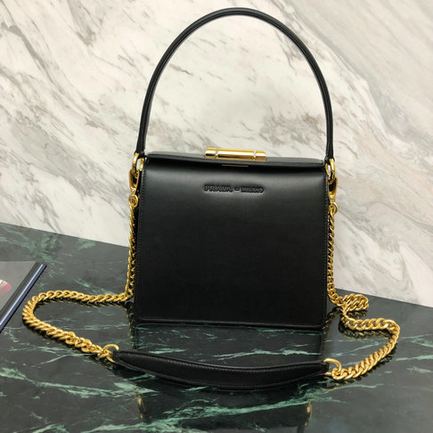 2019 Prada Sybille Leather Bag in Black