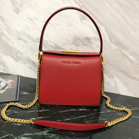 2019 Prada Sybille Leather Bag in Red