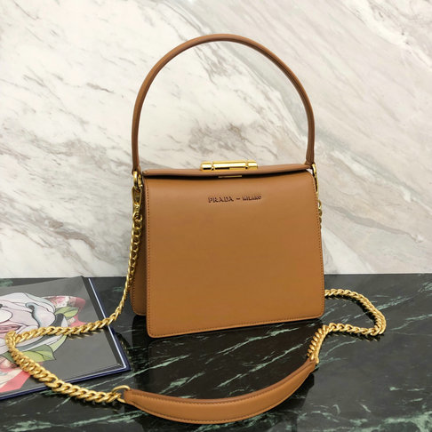 2019 Prada Sybille Leather Bag in Tan