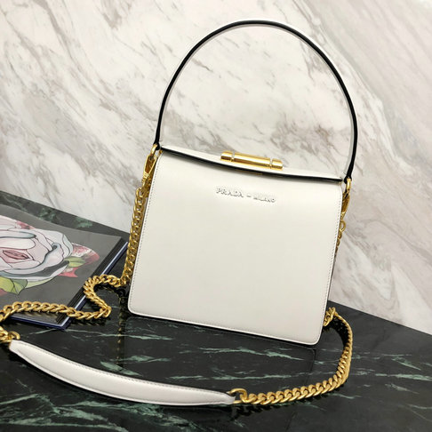 2019 Prada Sybille Leather Bag in White