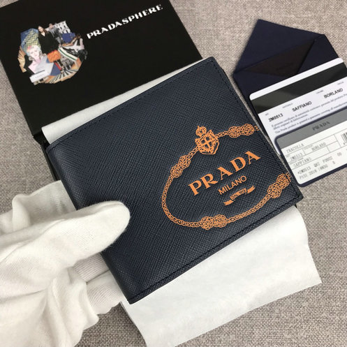 2019 Prada Small Saffiano Leather Wallet in Dark Blue