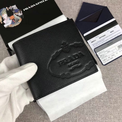 2019 Prada Small Saffiano Leather Wallet in Black