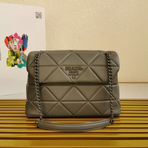 2020 Prada Large Spectrum Bag in Marble Gray Nappa Leather