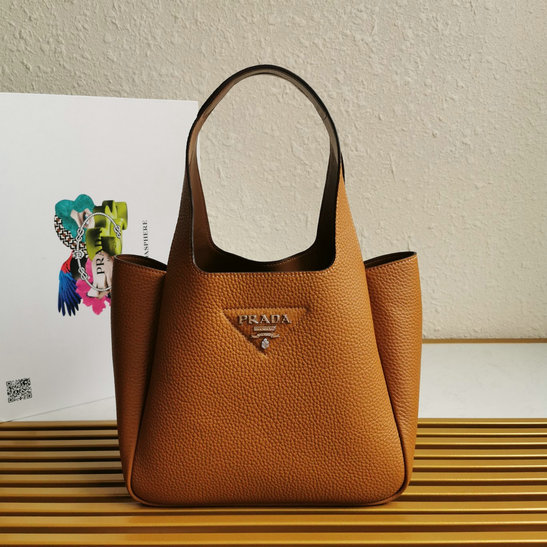 2020 Prada Leather Handbag in Caramel with nappa leather lining