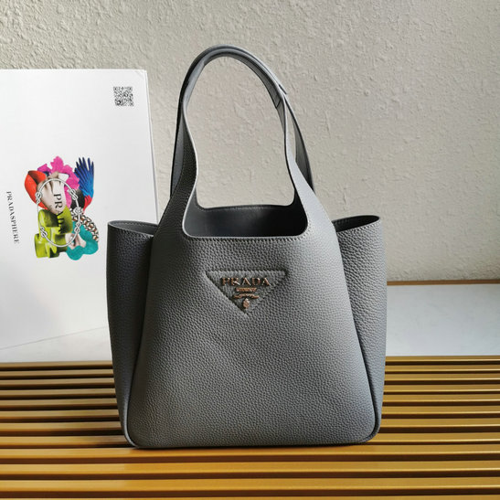 2020 Prada Leather Handbag in Grey with nappa leather lining