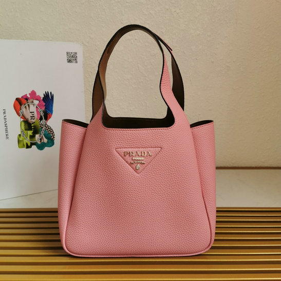 2020 Prada Leather Handbag in Pink with caramel nappa leather lining