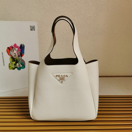 2020 Prada Leather Handbag in White with caramel nappa leather lining