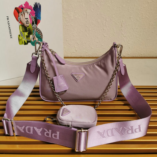 2020 Prada Re-Edition 2005 Nylon Bag Lavender with Saffiano leather trim
